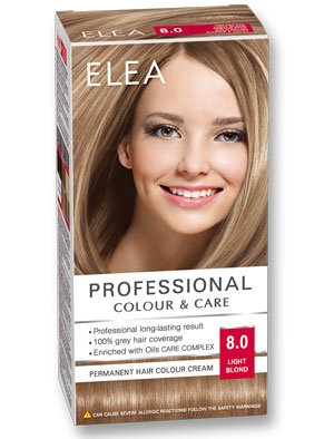 Боя за коса Elea Professional colour&care № 8/0 Светло рус