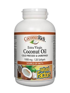Кокосово масло, Coconut oil Extra Virgin 1000 mg 120 капсули Natural Factors