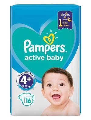 Памперс, Pampers Active Baby S4P maxi plus Бебешки пелени 16 бр.