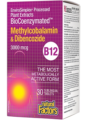 BioCoenzymated Vitamin B12 (Mетилкобаламин и Дибенкозид) 3000 µg 30 таблетки Natural Factors
